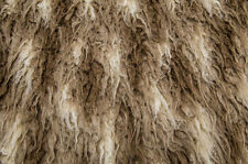 Beige and Brown African Curly Faux Flokati Fur Photo Prop Newborn Nest 18x30in
