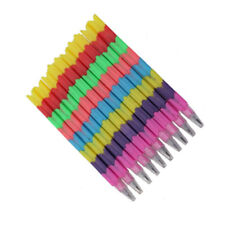 10X Colorful Stackable Pencil Kid Children Writing School Students-Stationery