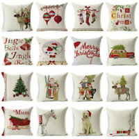 Gift Xmas Pillow Cushion Cover Case Christmas Home Decor Sofa Throw Cotton Linen