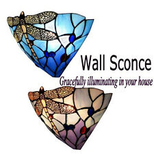 "12"" Wall Sconce Light Fixture Arts & Crafts Mission Tiffany Style Stained Glass"