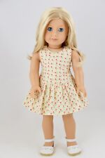 Summer Dress Ivory / Red Flowers American Made Doll Clothes 18 Inch Girl Dolls