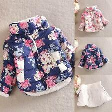 Kids Child Girls Cotton Floral Outerwear Long Sleeve Jacket Warm Coat 2-6 T New