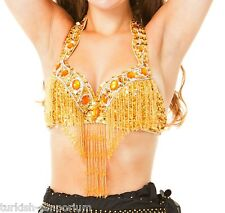 ORO ornato di lustrini Belly Dance reggiseno top con perline frange Danza Costume Vegas UK NUOVE