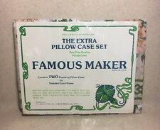 VINTAGE Famous Maker The Extra Pillow Case Set Standard Size Floral Design