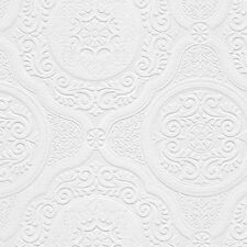 Paintable Wallpaper Ornate Medallions Victorian Heavy 48932