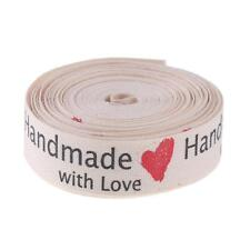 5 Yard 15mm Handmade With Love Pattern Cotton Label Ribbon DIY Craft Sewing Tape