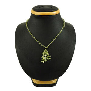 Round Shape Peridot Gemstone Beaded Mother's Day Necklace 925 Silver Jewelry S5
