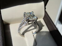 Certified 2.20CT Princess White Diamond Solitaire Engagement Ring 14k White Gold