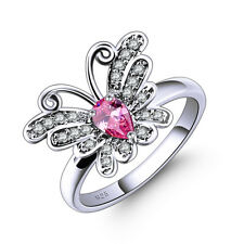 Butterfly Fashion Jewelry Pink White Topaz Gemstone Silver Ring Size 6-13 Great