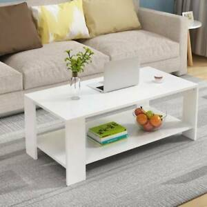 2 Tier White Coffee Table Rectangle Wood Living Room Tables Storage Shelf