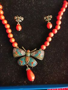 NWT HEIDI DAUS BUTTERFLY coral Bead Strand Choker Necklace & earring set