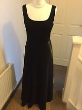 Black Satin 1940s 1950s 1980s Style Dress Gown with Underskirt 12-14 vtg