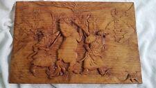 ARTISAN Wooden Wall Art Panel Sculpture Hand Carved Plaque TAMING A WAR HORSE