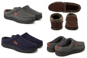 Dearfoams Men's Memory Foam Clog Slippers Indoor Navy/Grey Brown S,M,L,XL