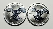 2 x 2014 Canada $5.00 1 oz Silver Maple Leaf .9999 Peregrine Falcon Bird