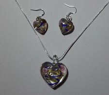 Blue & Yelow Stripe Murano Glass Earrings & Necklace Set #Valentine