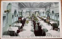 New York City, NY 1920s Postcard: Colonial Hotel Restaurant Interior