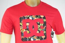 """DC SHOES MEN'S GRAPHIC RED T-SHIRT W/ FLORAL """"DC"""" LOGO ON FRONT size Small"""