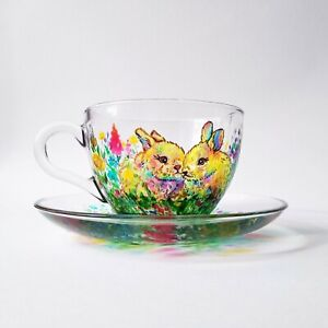 Rabbit tea cup and saucer, Hand painted tea cup, Personalised Gift for Mom