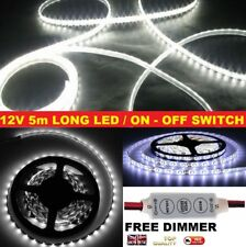 Blanco 5M Tira de Luz LED + Dimmer 12V Impermeable cutable Barco Camper Autocaravana