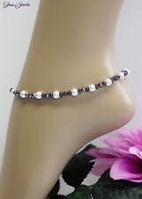 Glass Jewels Silber Fußkettchen Perlen Lila Weiß Beach Länge 27 cm #J061