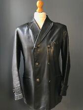 Vintage 1960's black leather reefer peacoat size 38