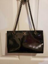 Authentic CHANEL Black Patent Leather Shoulder Bag Gold Hardware Dyed Vintage