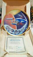 "Lg. 10"" USS Enterprise Certificate Star Trek Collector Plate NCC1 701 w COA IOB"