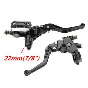 "Black CNC Universal 7/8"" Dirt Bike Brake Cable Clutch Lever Set Reservoir 2pcs"