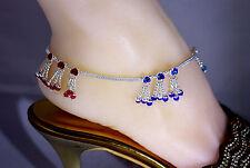 Bollywood Designer CZ Silver Tone Indian Anklets Payal PK - 1 Pair