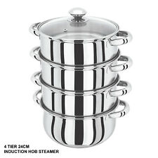 4 Tier Steamer- 24cm S/Steel Veg Cooker Induction Hob Multi Pot Pan w/Glass Lid