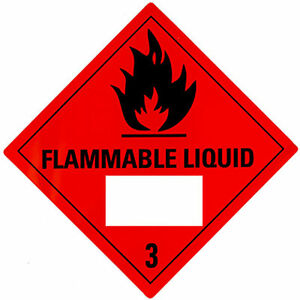 FLAMMABLE LIQUID Class 3 Label Warning Sticker DECAL size: 300 x 300mm (15 pcs)