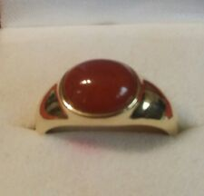 Vintage 1970s 14k Solid Yellow Gold Young Men's Carnelian Ring  Sz.11 W 3.8 gram
