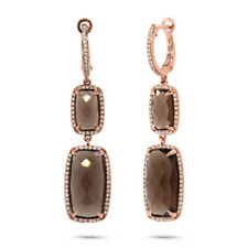 15.50 TCW 14K Rose Gold Brown Smokey Topaz Diamond Dangle Drop Earrings Square