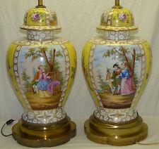 "Pr 25"" Antique Franziska Hirsch Dresden Germany Quatrefoil Watteau Painted Lamps"