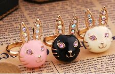 R12 BETSEY JOHNSON Cute Bunny Rabbit Ring - Available in Pink Black or White US