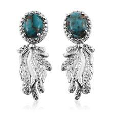 Mojave Blue Turquoise Platinum Bond Brass Dangle Earrings TGW 3.500 Cts.