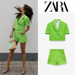ZARA DOUBLE-BREASTED TEXTURED CROPPED BLAZER AND BERMUDAS SHOTS SET NEON GREEN L