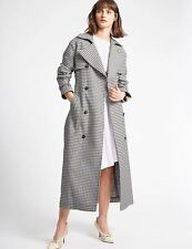 Marks and Spencer Gingham Trench Coat Grey Lilac with Belt M&S NEW Trinny London