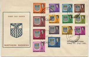 NORTHERN RHODESIA 1963 ARM TO 20/- SG75/88 ON SUPERB ILLUS FDC