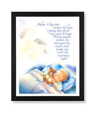 Boy Bed Prayer Religious Kids Room Wall Picture Black Framed Art Print