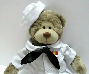 """Gund Wally Plush Bear in Sailor Outfit Navy Military Removeable clothes 14"""" Tan"""