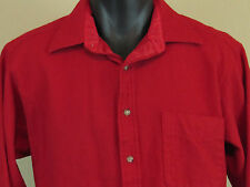 Men's Vintage PENDLETON Red Wool Button Front Shirt + Suede Patches + Western L