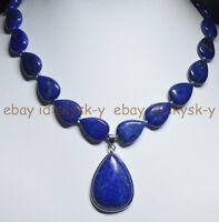 "Natural Blue Lapis Lazuli Gemstone Teardrop Beads Pendant Necklace 18"" AA"