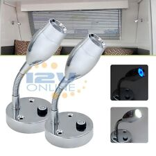 2x 12V LED Flexible Bedside Book Reading Lights Bedroom RV Caravan Surface Mount