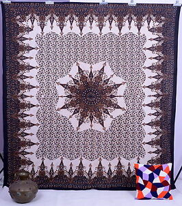 QUEEN BLACK STAR WALL HANGING BEDSPREAD TAPESTRY COVERLET HANDMADE COTTON Throw