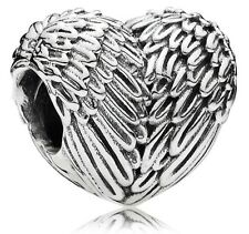 Angelic Feathers Love Heart Wings Genuine Silver s925 Pedant Charm +Gift Pouch
