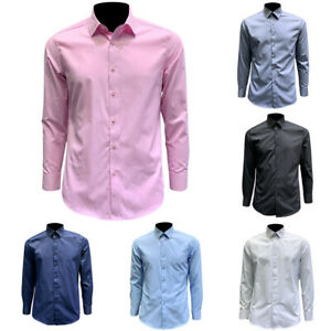 Men Plain Formal Wear Business Shirt Long Sleeves Slim Fit Regular Fit Plus Size