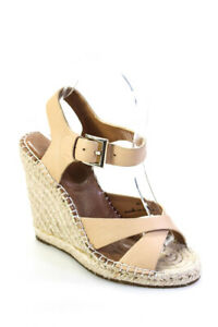 Joie Womens Leather Open Toe Wedges Tan Size 35.5