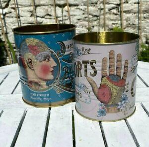 Temerity Jones Phrenology Palmistry Vintage Retro Style Set 4 Tins Storage Kitch